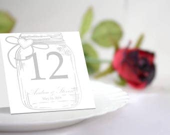 DIY Silver Mason Jar Table Number Tent Template. Editable Colors & Text. Instant Download.