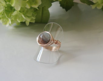 Handcrafted ring, made in Quebec, coiled wire, amazonite stone, st-Valentine gift,