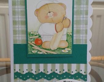 MC135 - Male birthday Card - Cricket - Dad - Uncle - Grandad - Son - Bear - Sport