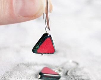 asymmetric earrings red jewelry geometrical earrings gift for her unusual earrings statement jewelry gift girlfriend valentines gifts пя94
