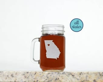 Mason Jar Glasses. Custom - Pick Any State & City for the Heart. Etched Mason Jars.