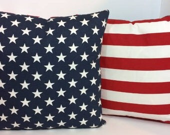 Two Stars and Stripes, American Flag, Red, White and Blue, July 4th, Memorial Day Pillow Covers , 18 x 18, 20 x 20