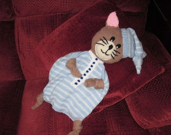 Hand Knitted Cuddle Cat, Blue And White Striped Babies Security Blanket, Baby Comforter, Security Blankie, Lovey Blanket, Ready To Ship/Post
