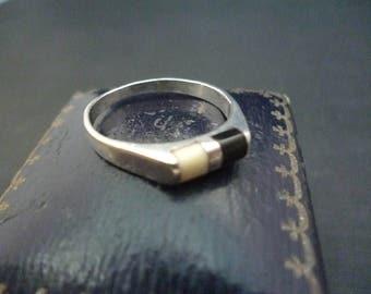 Vintage onxy silver ring - 925 - sterling silver - black onyx - UK N - US 6.75