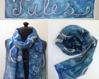 Custom Silk Scarf ~ Hand Painted Silk Scarf, Personalised Name Gift, Scarf with your Name On, Personalized Name Presents, One of A Kind