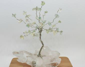 Wire tree sculpture, gemstone tree, quartz chips tree, wire wrap tree, miniature tree, wire tree of life,