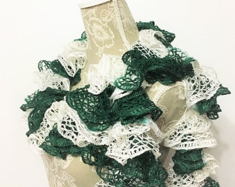 Green White Scarf, Crochet Scarf, Ruffle Scarf, Crochet Ruffle Scarf, Handmade Scarf, Green Scarf, Sashay Scarf, Gift for Her, Fashion Scarf