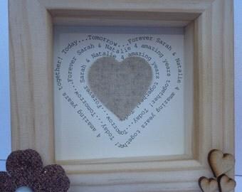 4th wedding anniversary gift, linen anniversary present, 4th anniversary gift, linen anniversary, personalised frame, 4 year anniversary