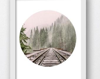 Train Track Art Print, Train Photography, Train Railroad Photo, Vintage Black White Photos, Railroad Tracks, Railroad Picture Printable