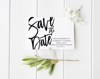 Wedding Save the Date Engagement Save the Date Black and White Wedding Save the Date Calligraphy Wedding Invite