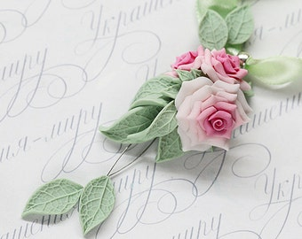 Pink rose necklace. Soft Pink flower necklace. Polymer clay jewelry. Mint leaf necklace. Rose jewelry. Floral jewelry. Gift for her