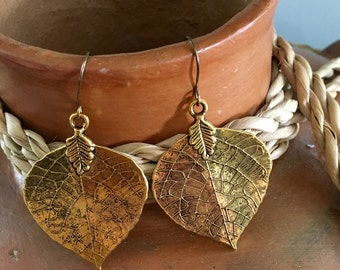 Brass Leaf Earrings with texture and patina