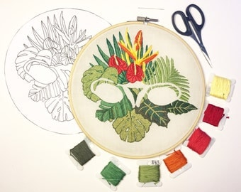 Digital embroidery pattern, Big swinging Ovaries - Tropical leafs design by Jess de Wahls #BSODIY
