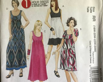 McCalls M5893 - Easy to Sew 1 Hour Empire Waist Dress with Scoop Neckline - Size 18W 20W 22W 24W
