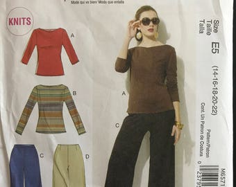 McCalls M6571 - Palmer Pletsch Stretch Knit Top with Boat Neck and Wide Legged Pants - Size 14 16 18 20 22