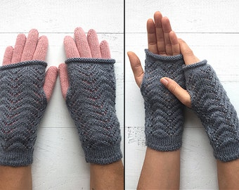 EXPRESS Shipping, Double Layered Gloves, Fingerless Gloves, Two Layered Gloves, Special Gift, Gift For Her, Pink Gloves, Gray Gloves, Mitten