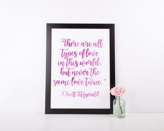 F Scott Fitzgerald Love Quote Print | Pink Watercolor Quote Print | Instant Download | Gallery Wall Home Decor