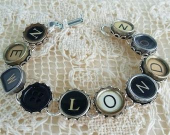 New London Bracelet, Typewriter Key Bracelet, New Hampshire, Connecticut, Upcycled Jewelry, Steampunk Bracelet, Antique Typewriter Keys