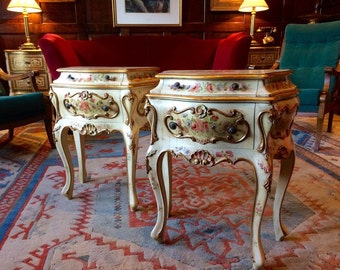 Stunning Antique Italian Style Bedside Cabinets Chests Tables Bombe Commode Pair