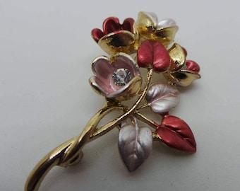 Vintage brooch - Red and pink floral brooch