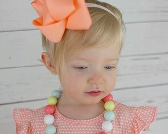 Coral and Mint Blue Bubblegum Necklace, Matilda Jane Inspired Necklace, M2M Matilda Jane, M2M Happy and Free, Girl Toddler Necklace