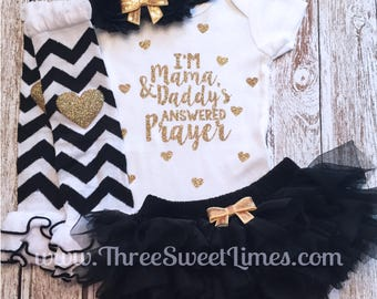 Baby Girl Clothes | I'm Mama and Daddy's Answered Prayer | Adoption Day Outfit |Opt Headband Leg Warmer | Baby Shower Gift Take Home Set
