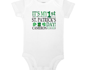 Personalized Name It's My First Saint Patrick's Day Green Clovers Black Hat Baby One Piece