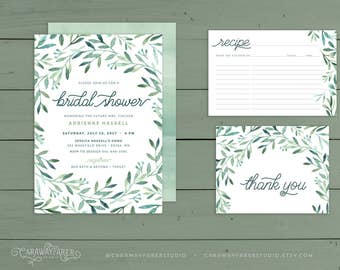 Greenery Bridal Shower Invitation Suite Recipe Card Thank You PRINTABLE Sage Green Garden Spring Bridal Shower Invitation Set Watercolor