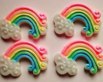 4/8 pieces kawaii rainbow and cloud phone case accessories decoden jewellery scrapbooking hobby craft UK weather cabs sunny pretty enchanted