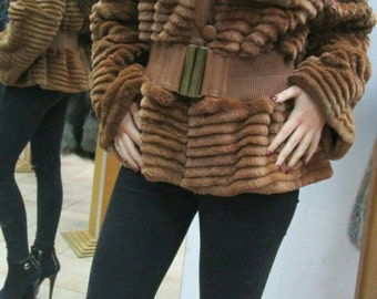 NEW!!!Natural Real Modern Sheared Noutria Fur jacket with  leather details!!!