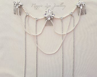 Elegant Boho Bridal headpiece, hair piece/ jewellery, back drapes /chains pearls, diamante. Wedding, bride, Statement headdress. UK Bohemian