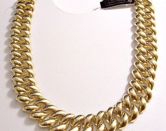 Monet Puffed Waved Chain Link Necklace Choker Gold Tone Vintage Wide Layered Polished Reflective Foldover Clasp Closure