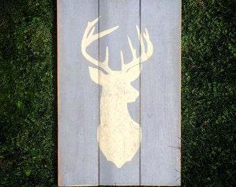 Deer Head Silhouette Wood Sign | Cream on Grey | Rustic Sign