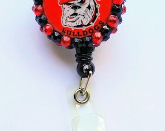 Georgia Bulldogs Badge Reel, Retractable Badge Reel, Lanyard, Rhinestone, RN, LPN, CNA, Pediatric Nurses, Graduation Gift, Football