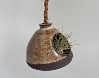 Small Ceramic Hanging Planter - Rustic Indoor Planter - Wheel Thrown Pottery - Handmade Stoneware Planter - Black Clay Succulent Planter