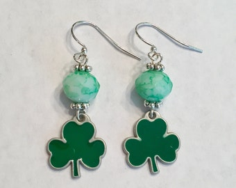 St. Patrick's Day Earrings: Green Marble Glass Bead with Green Shamrock Charm