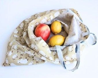 Sheep shopping bag, Burlap tote bag, grocery bag, market tote, Burlap bag