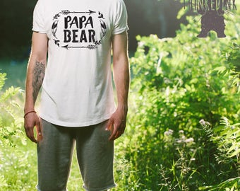 Papa Bear Shirt Tshirt V-neck Tank T-shirt Tee Pregnancy Announcement Grandparents Reveal est. 2017 Baby Shower Daddy to Be Gift Idea Hubby