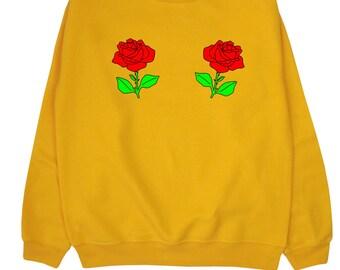 Roses ∘ Sweatshirt Sweater Jumper ∘ Boobs ∘ Black Blue Pink Grey White ∘ S M L XL 2XL ∘ Tumblr Instagram Blogger