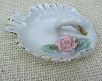 Porcelain Swan Pink Rose Gold Trim Ring Holder // Catch All // Ashtray // Vanity Vintage Home Decor