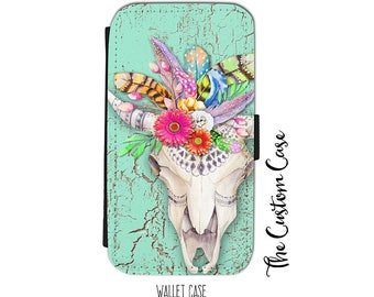 Boho Cow Skull Wallet Case, Skull & Feathers, Flower Skull Wallet Case, Iphone Wallet Case, Samsung Wallet Case, Wallet Case for Smartphone
