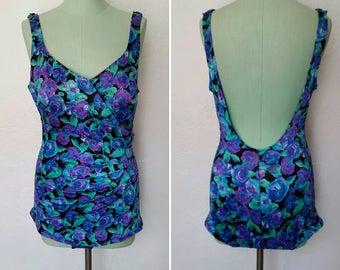1980s Vintage Maxine Of Hollywood Floral Swimsuit Blue Purple Plunge Back