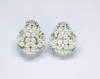 Bridal beaded pearl stud earrings vintage style