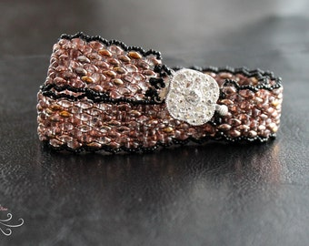 seed bead bracelet, peyote bracelet, seed bead jewelry, wrap bracelet, beaded wrap bracelet, beadwork jewelry, peyote stitch, superduo beads