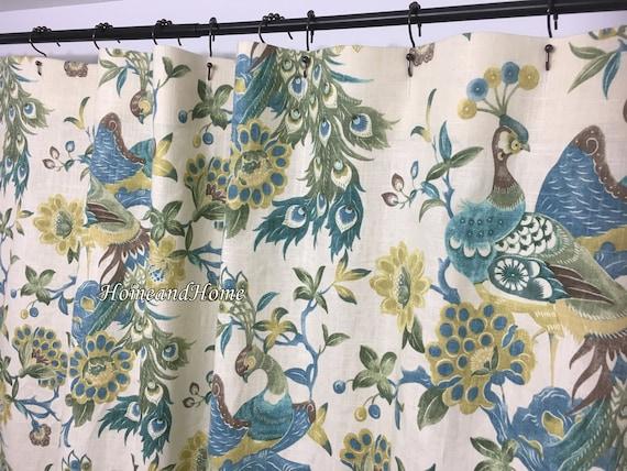 Fabric Shower Curtain High End Designer Linen Blend Preen Aqua