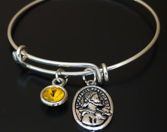 St Francis of Assisi Bangle Bracelet, Adjustable Expandable Bangle Bracelet, St Francis of Assisi Charm, St Francis of Assisi Pendant