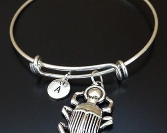 Scarab Bangle Bracelet, Adjustable Expandable Bangle Bracelet, Scarab Charm, Scarab Pendant, Scarab Jewelry, Scarab Beetle, Beetle Bracelet