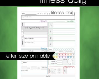 Printable FITNESS & HEALTH Daily Tracking Worksheet - 8.5x11 Letter Size PDF - Food Log - Workout Log - Fitness Tracker - Instant Download