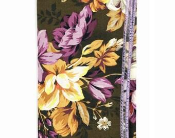 POCKET SQUARE: FLORAL. Mens Handmade Handkerchief, Custom Wedding Hankies, Gifts, Lovely Lapels