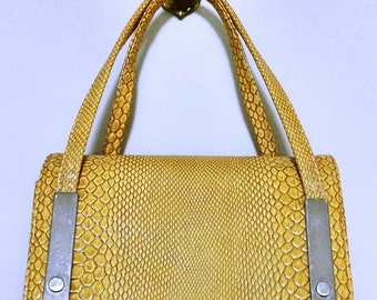 Vintage Snake Skin Hand Bag/Evening Bag Mustrard With Silver Hardware Purse